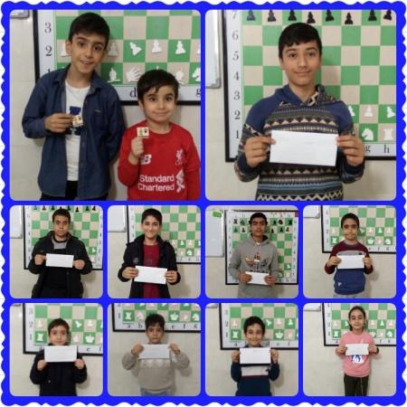 بازیکنان برتر مسابقه هفتگی سطح مبتدی و متوسطه هیئت شطرنج و مدرسه شطرنج امیران مارلیک در ملارد